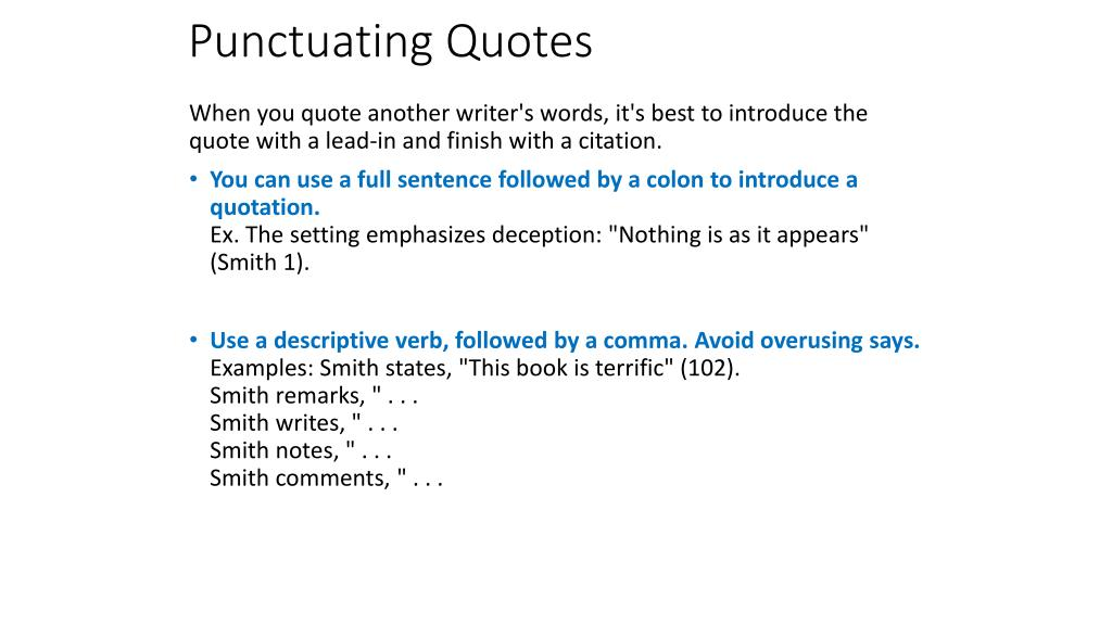 Ppt Punctuating Lead Ins Quotes And Citations