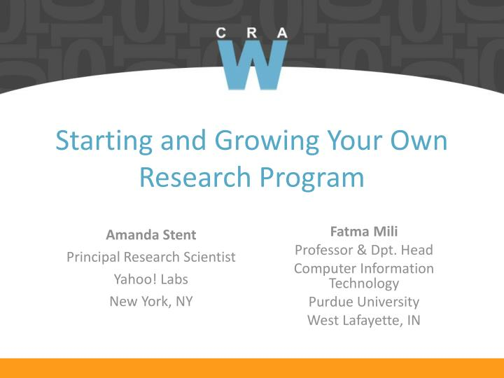 starting and growing your own research program n.