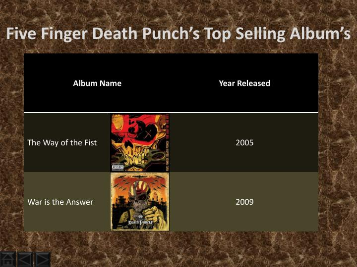 Five Finger Death Punch's Top Selling Album's