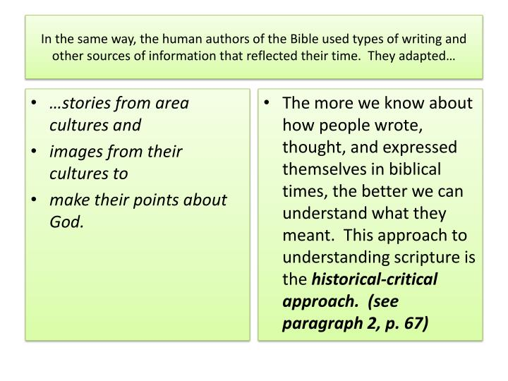 In the same way, the human authors of the Bible used types of writing and other sources of informati...