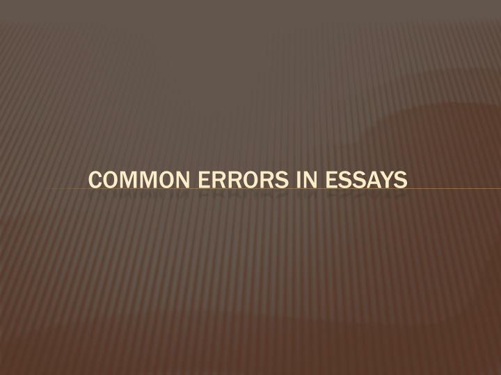 Common errors in Essays
