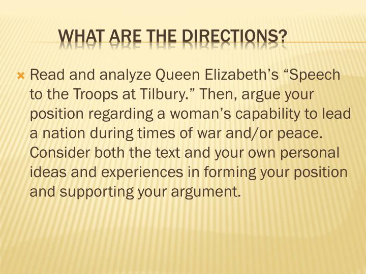 """Read and analyze Queen Elizabeth's """"Speech to the Troops at"""