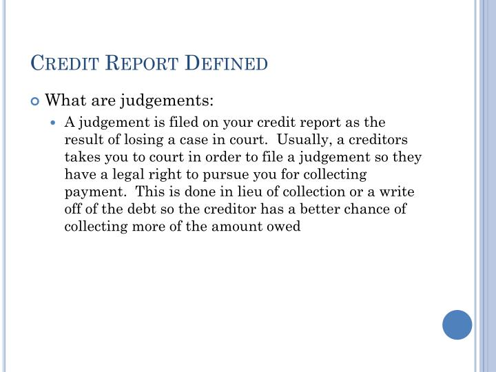 Credit Report Defined