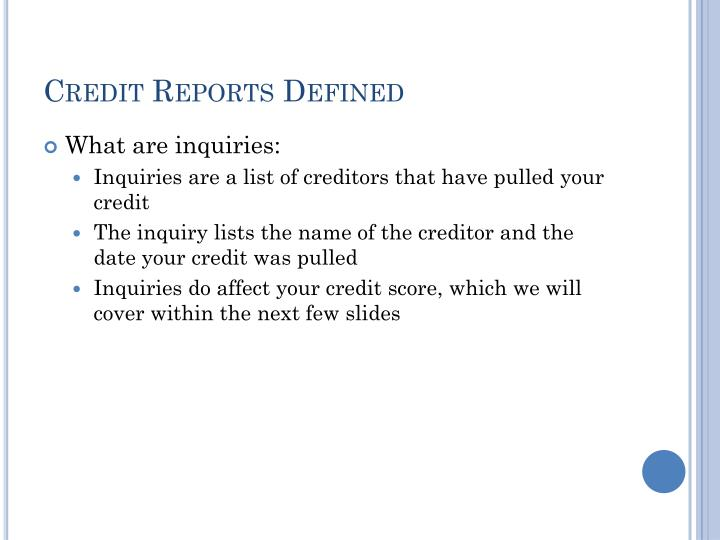 Credit Reports Defined