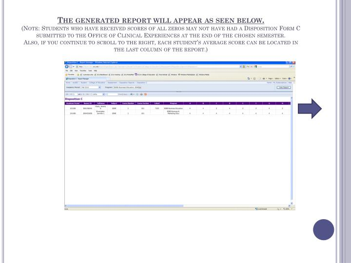 The generated report will appear as seen below.