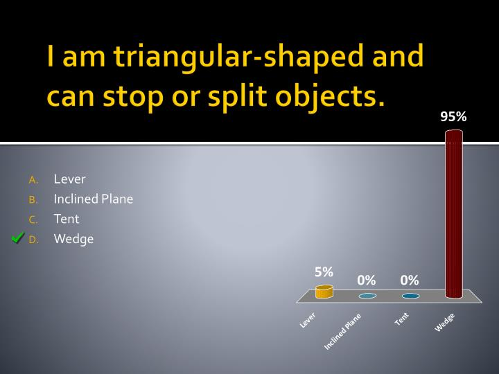 I am triangular-shaped and can stop or split objects.