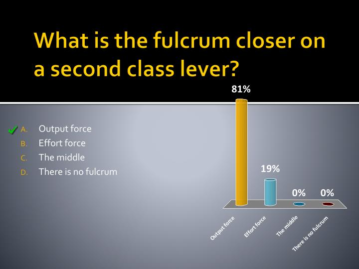 What is the fulcrum closer on a second class lever?