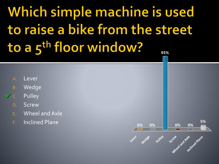 Which simple machine is used to raise a bike from the street to a 5