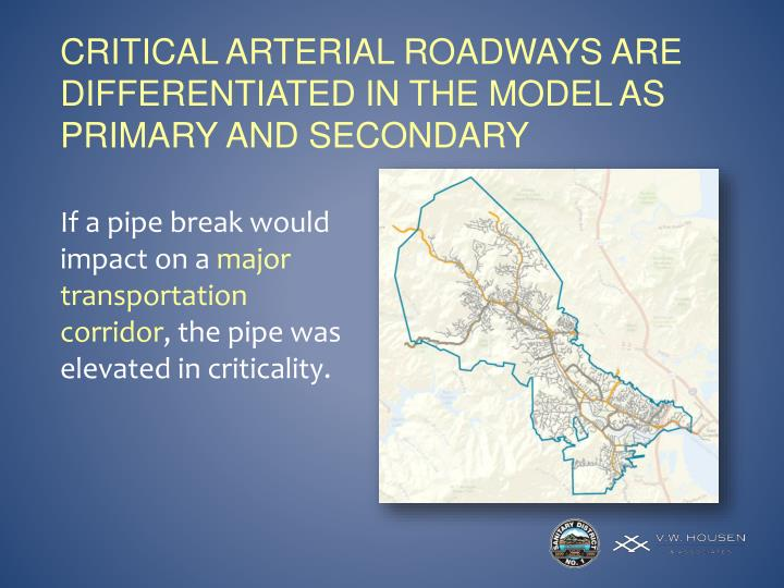 Critical Arterial Roadways are differentiated in the model as Primary and Secondary