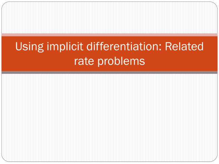 using implicit differentiation related rate problems n.