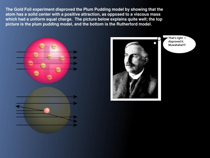The Gold Foil experiment disproved the Plum Pudding model by showing that the atom has a solid center with a positive attraction, as opposed to a viscous mass which had a uniform equal charge.  The picture below explains quite well; the top picture is the plum pudding model, and the bottom is the Rutherford model.