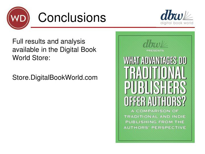 Full results and analysis available in the Digital Book World Store: