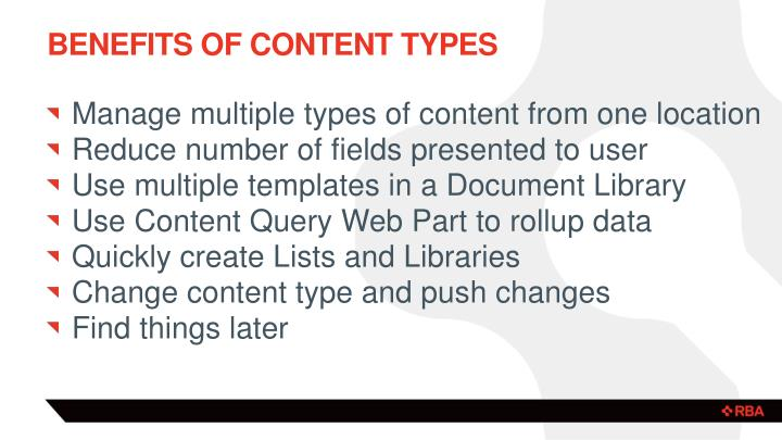 Benefits of Content Types