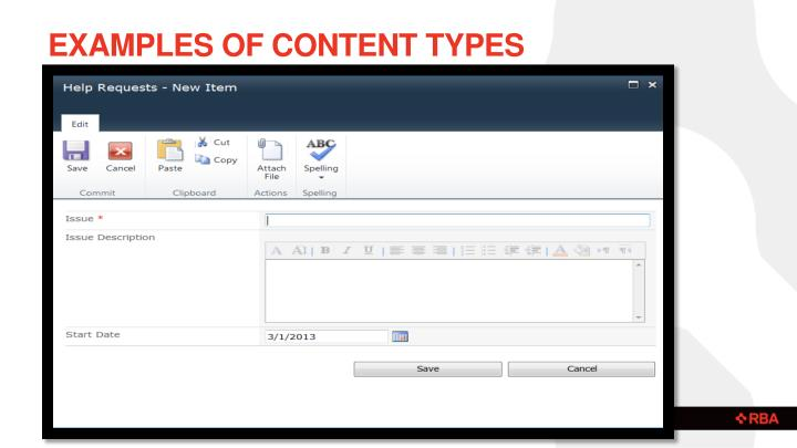 Examples of Content types