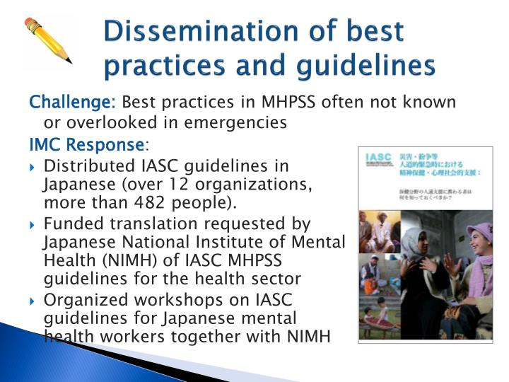 Dissemination of best practices and guidelines