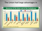 the union had large advantages in