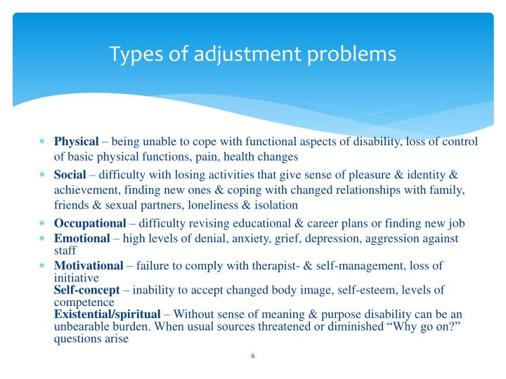 Types of adjustment problems