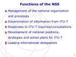 functions of the nss