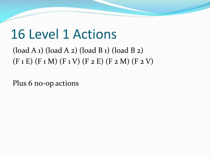 16 Level 1 Actions