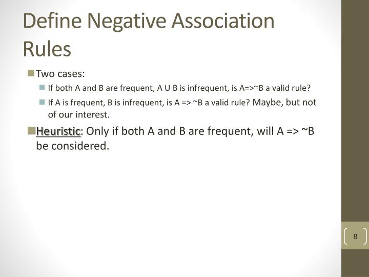 Define Negative Association Rules