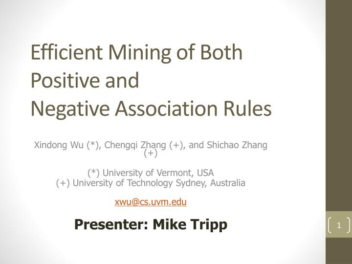 Efficient mining of both positive and negative association rules