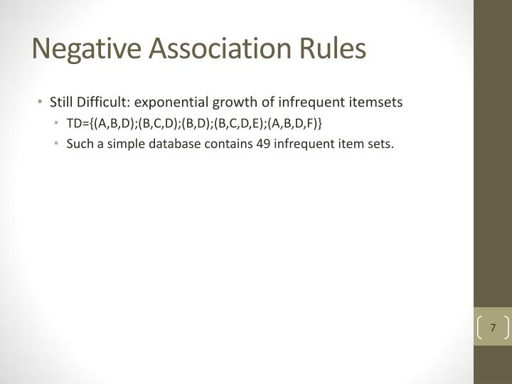 Negative Association Rules