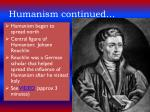 humanism continued