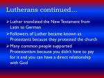 lutherans continued