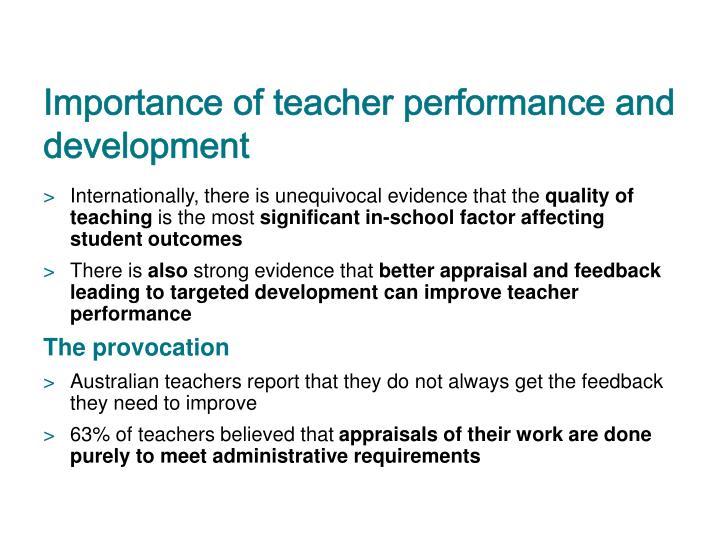 Importance of teacher performance and development