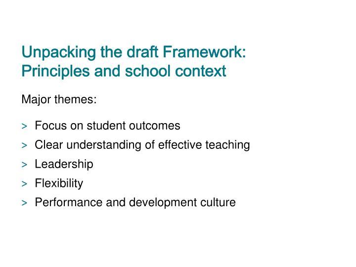 Unpacking the draft Framework: