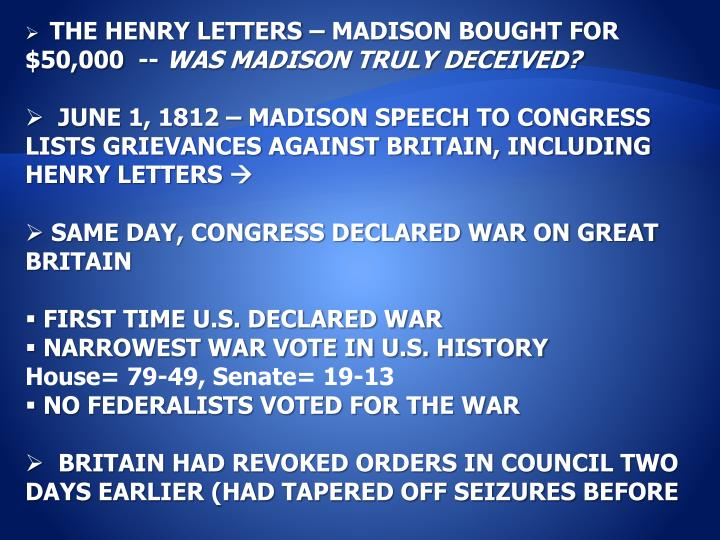 THE HENRY LETTERS – MADISON BOUGHT FOR $50,000  --