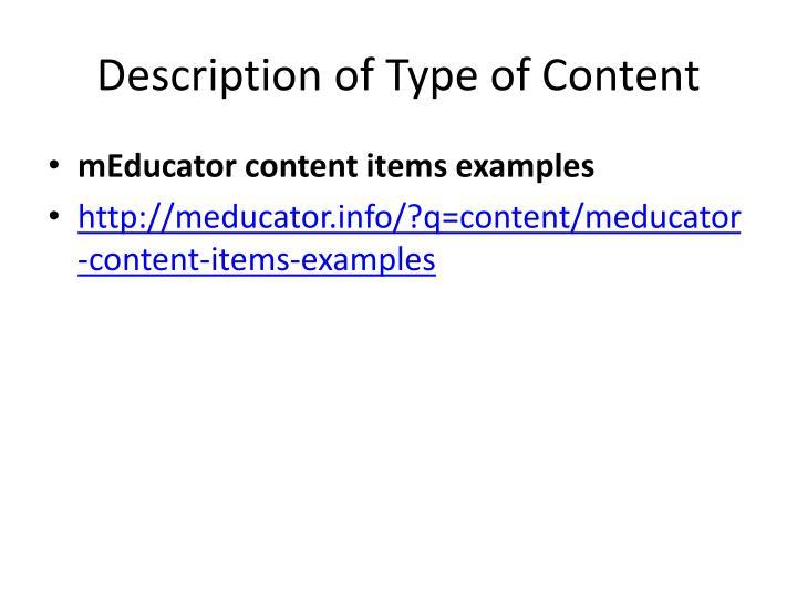 Description of Type of Content
