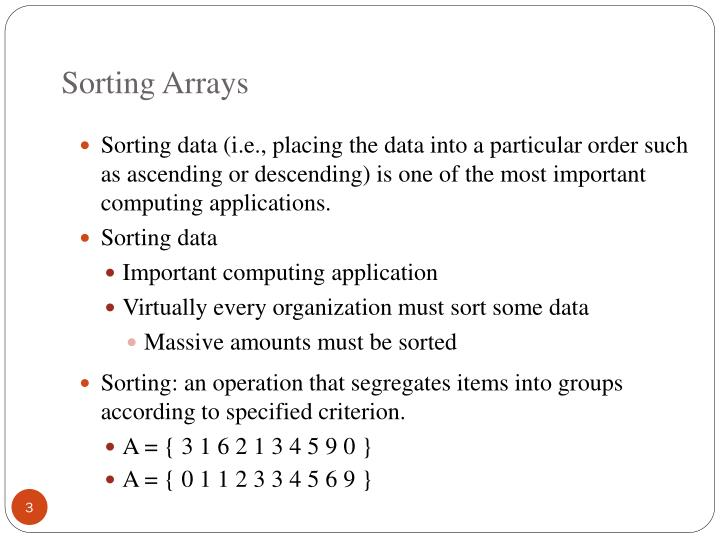 Sorting arrays