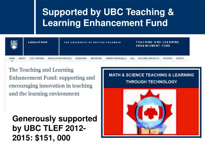 Supported by UBC Teaching & Learning Enhancement Fund