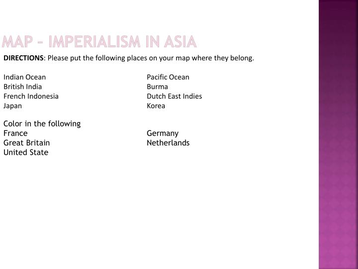 Map – Imperialism in Asia