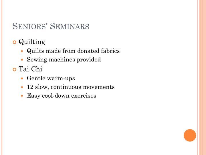 Seniors seminars