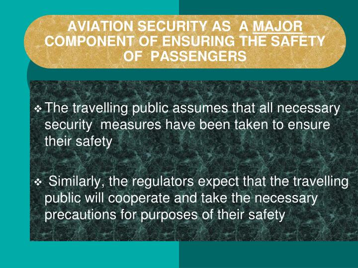 Aviation security as a major component of ensuring the safety of passengers
