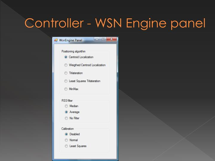 Controller - WSN Engine panel