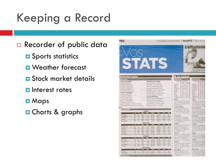 Keeping a Record