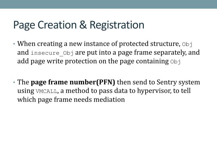 Page Creation & Registration