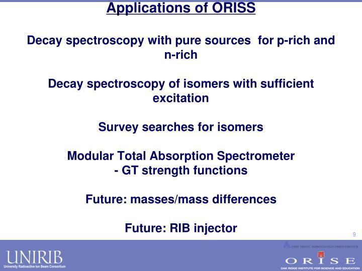 Applications of ORISS
