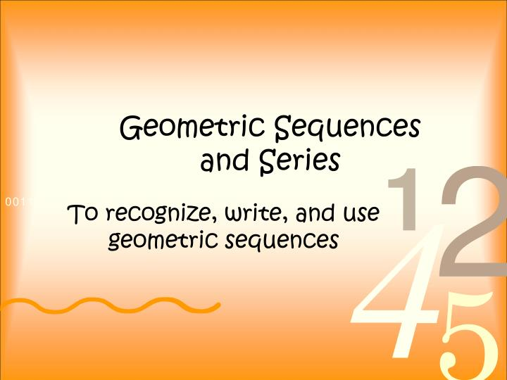 geometric sequences and series n.