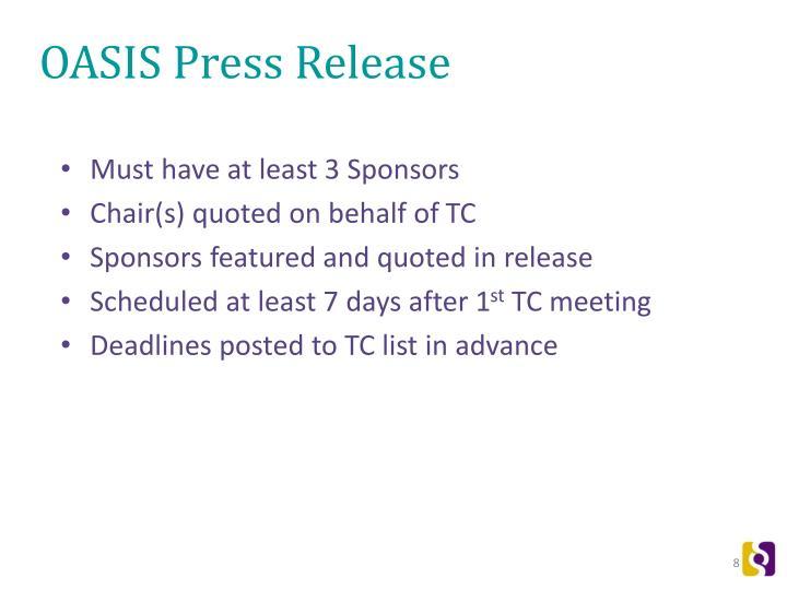 OASIS Press Release