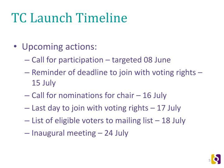 TC Launch Timeline