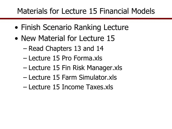 materials for lecture 15 financial models n.