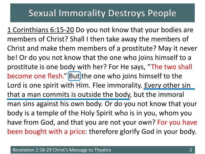 Sexual immorality destroys people