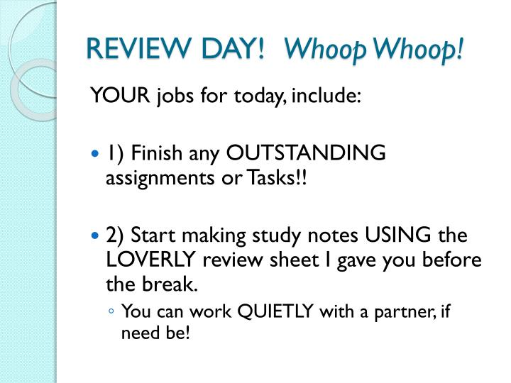 REVIEW DAY!