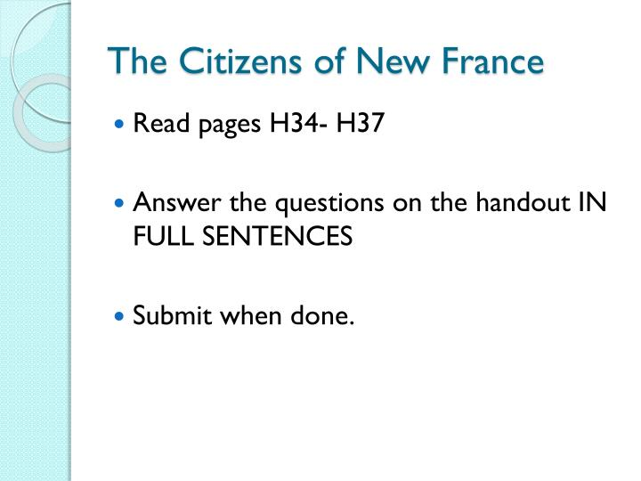 The Citizens of New France