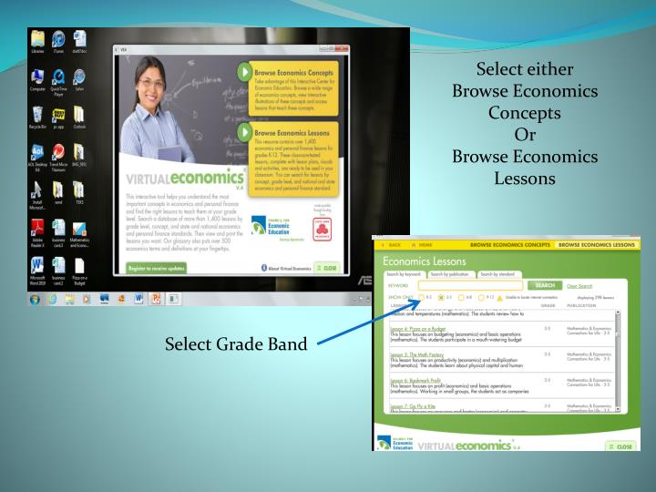 Select either Browse Economics Concepts