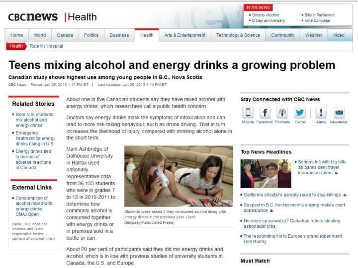 BACKGROUND: Energy Drinks and Alcohol